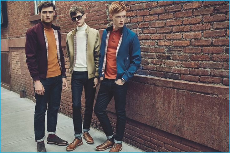 Ivan Kozak, Reid Rohling, and Linus Wordemann sport classic Harrington jackets and turtleneck sweaters for Ben Sherman's fall-winter 2016 campaign.