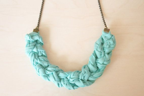 braid fabric necklace / turquoise by ganbayo on Etsy