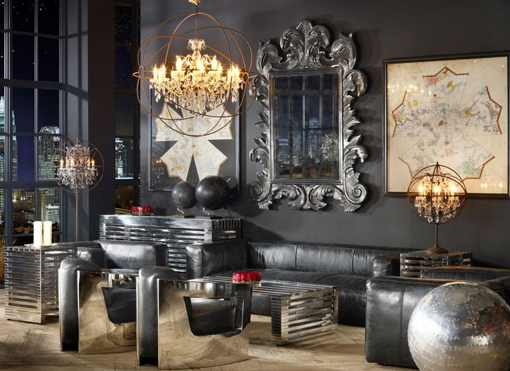 Living room vintage industrial style industrial style for Retro chic living room ideas