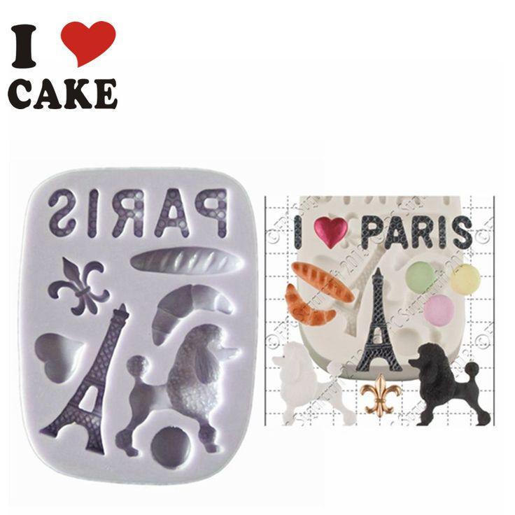 Conjunto Fimo argila artesanato moldes torre Eiffel Fondant de Chocolate decoração do bolo molde de Silicone molde para a cozinha Baking Mold FA-811 alishoppbrasil