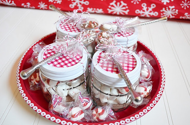 Mini Mason Jar Hot Chocolates - This would be cool for Valentine's Day gifts!