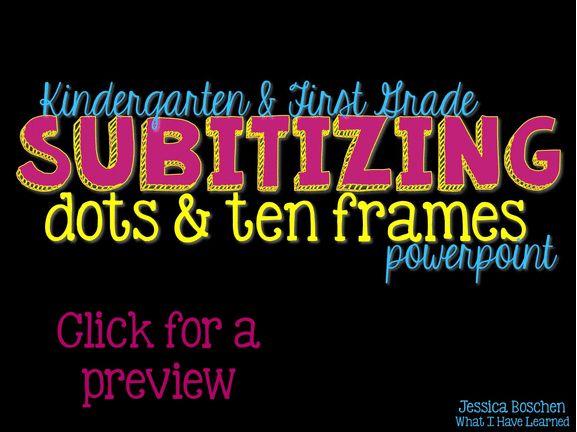 Kindergarten Calendar Math Powerpoint : Subitizing powerpoint with dots ten frames student