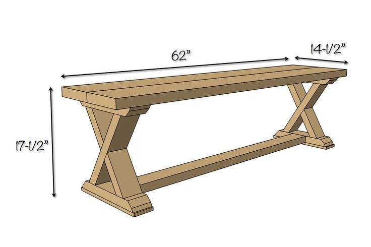 DIY X-Brace Bench Plans - Dimensions