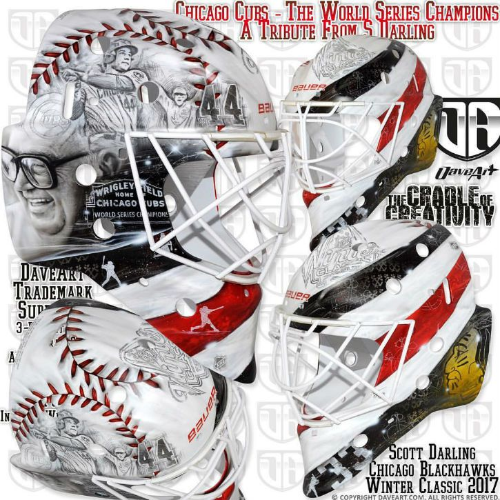BLACKHAWKS' DARLING HONORS CUBS' WORLD SERIES WIN WITH BEAUTIFUL WINTER CLASSIC MASK