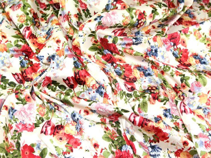 English Garden Floral Print Jardin Stretch Cotton Sateen Dress Fabric | Fabric | Dress Fabrics | Minerva Crafts