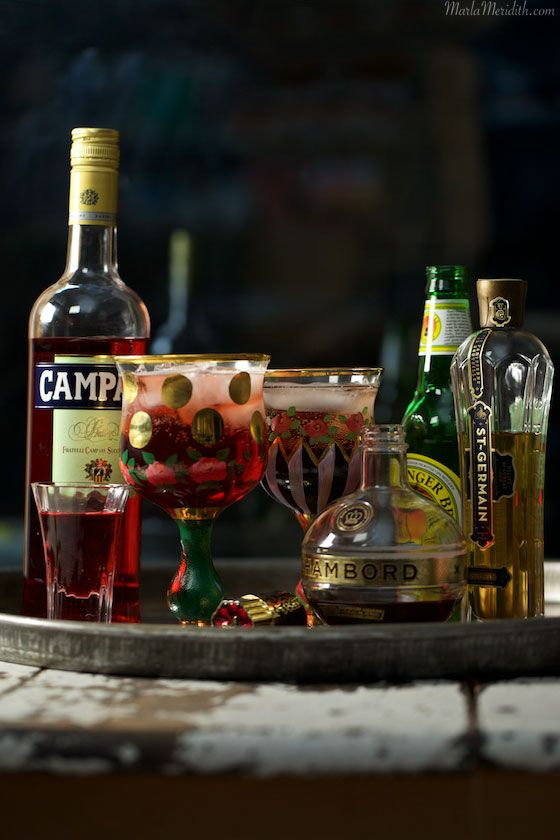 Zulu Queen Cocktail | A sparkling drink with Campari, Chambord, St-Germain & Ginger Beer | MarlaMeridith.com