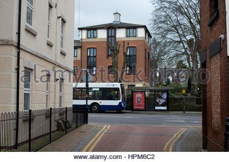A Stagecoach bus at a bus stop in Rugby town centre, Warwickshire, England, UK - Stock Image