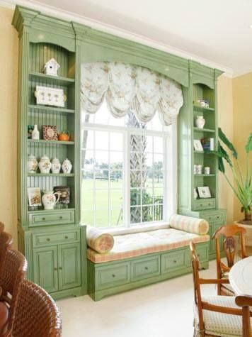 Frame picture window with bookcases.