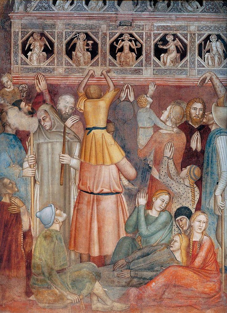 Andrea di Bonaiuto. Santa Maria Novella 1366-7 fresco 0014 - Андреа Бонайути — Википедия. Сцены из жизни св. Петра-мученика. Пилигримы, ищущие исцеления у могилы св. Петра.