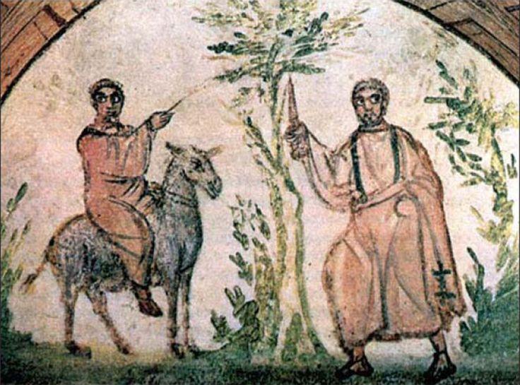 Catacombe di via Latina (Dino Compagni), Roma. Affresco del IV secolo. Balaam sull'asino fermato dall'Arcangelo Michele.