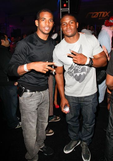 Chris Paul and Reggie Bush attend the 2012 Playboy Golf finals and Pajama Party at The Playboy Mansion in Beverly Hills.