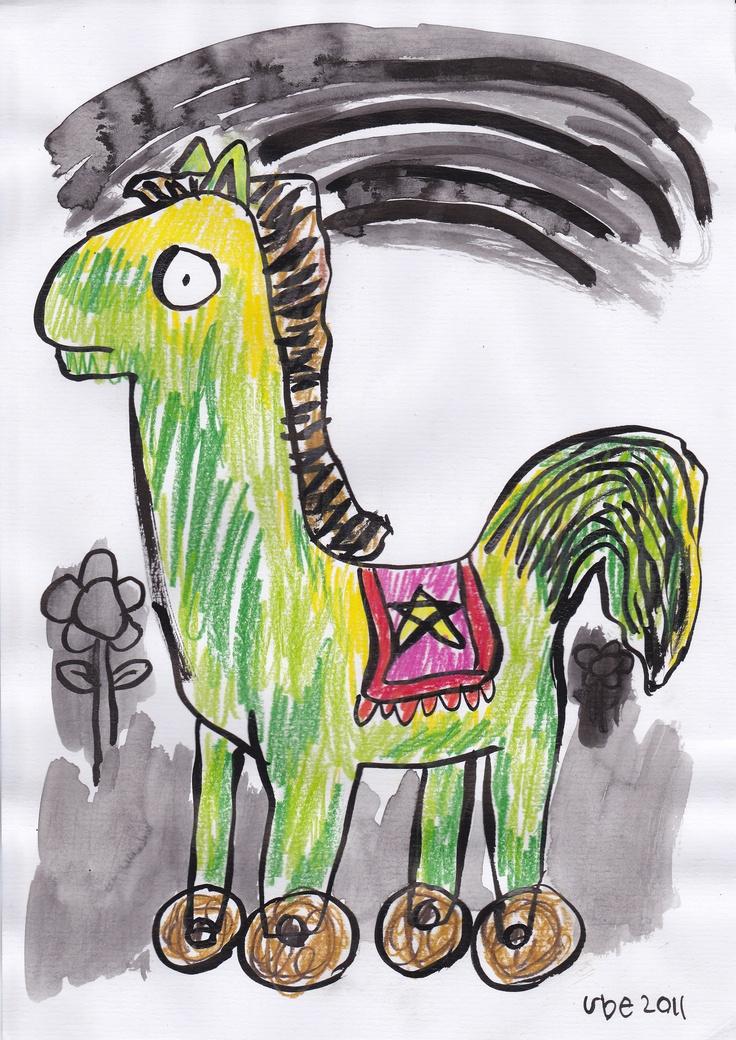 bingung dan diam ditempat,tinta cina dan pensil warna di atas kertas A4,2011. (ube)