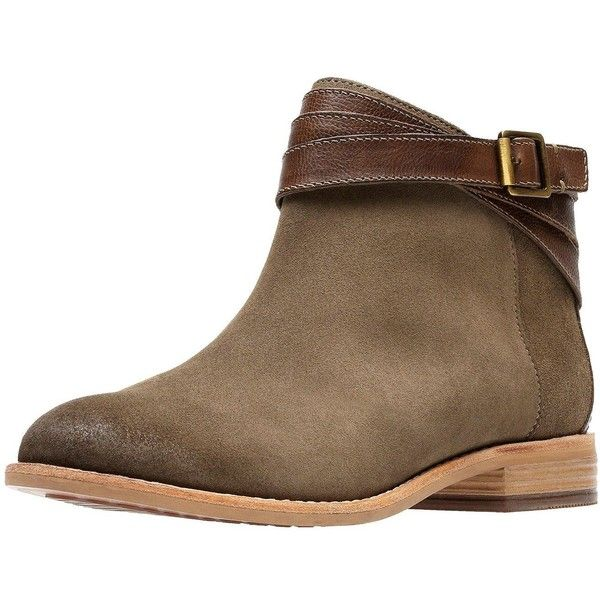 Clarks Maypearl Edie Flat Ankle Boot ($100) ❤ liked on Polyvore featuring shoes, boots, ankle booties, leather ankle bootie, leather boots, flat ankle booties, clarks boots and short leather boots