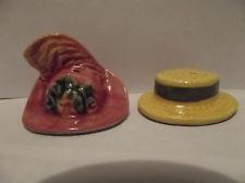 Arcadia MINIATURE Men's Straw Hat &  Woman's EASTER Dress Hat Salt & Pepper Shakers