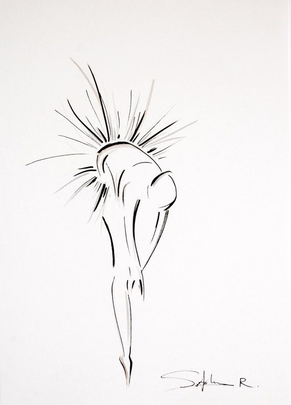 Original Ink Drawing of Dancing Woman, Ballerina Dancer Figurative Drawing Art, Black and White