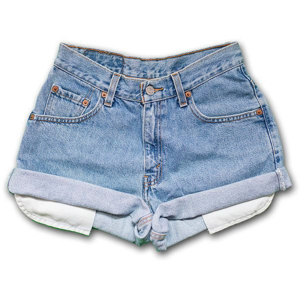 Vintage 90s Levi's light/medium Blue Wash High Waisted Rise Cut Offs... (£37) ❤ liked on Polyvore featuring shorts, bottoms, black, women's clothing, high waisted cut off shorts, cut-off jean shorts, cut off shorts, high waisted shorts and denim shorts