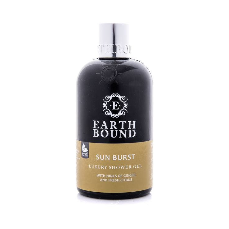 EARTHBOUND SUN BURST SHOWER GEL WITH HINTS OF GINGER AND FRESH CITRUS.  With warm, heady notes of ginger root and lemon rind, the Sun Burst range is a musky blend of Maplewood, sandalwood and amber complemented by a floral burst of jasmine and white rose with a hint of spearmint, a smell reminiscent of a sunkissed summer's day. Earthbound Sunburst Shower Gel | GoodiesHub.com