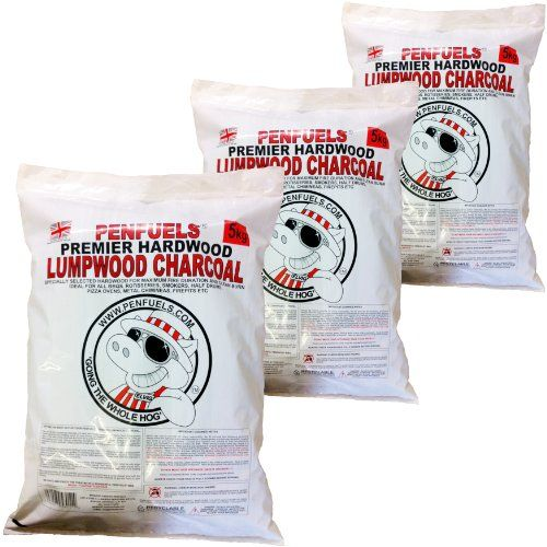 PENFUELS Hardwood Lumpwood Charcoal for BBQ, Barbecue : Three 5kg bags (15kg total)