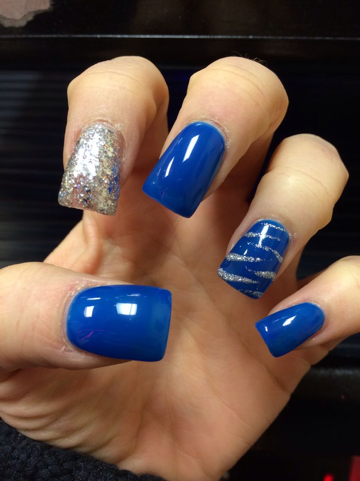 Blue And Silver Acrylic Nail Designs 73561 Loadtve