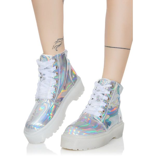 Y.R.U. Hologram Slayr Boots ($135) ❤ liked on Polyvore featuring shoes, boots, platform combat boots, combat boots, round toe boots, platform shoes and platform boots