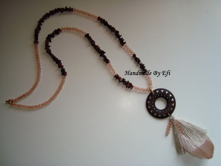 #Necklace #boho #Crystals #Agate #Wood