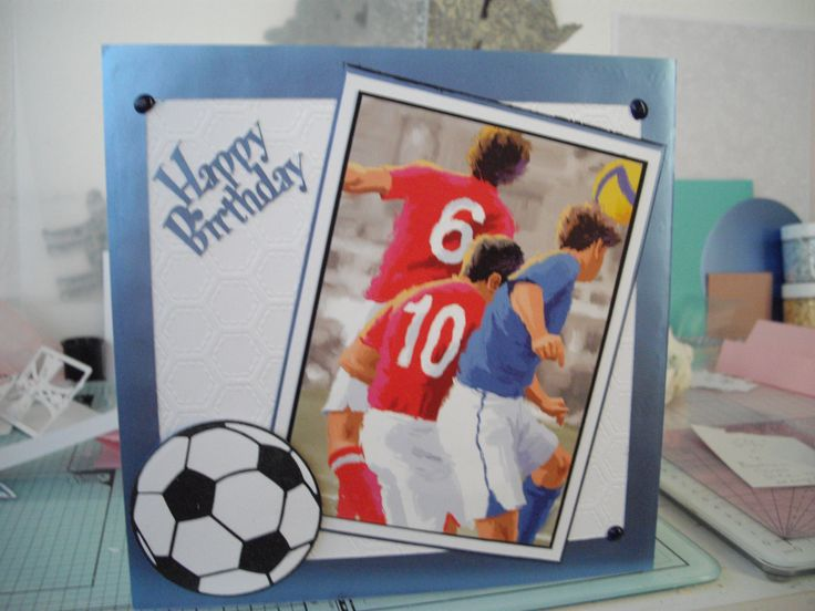 Football topper from Hunkydory little book, football die is Tattered Lace.