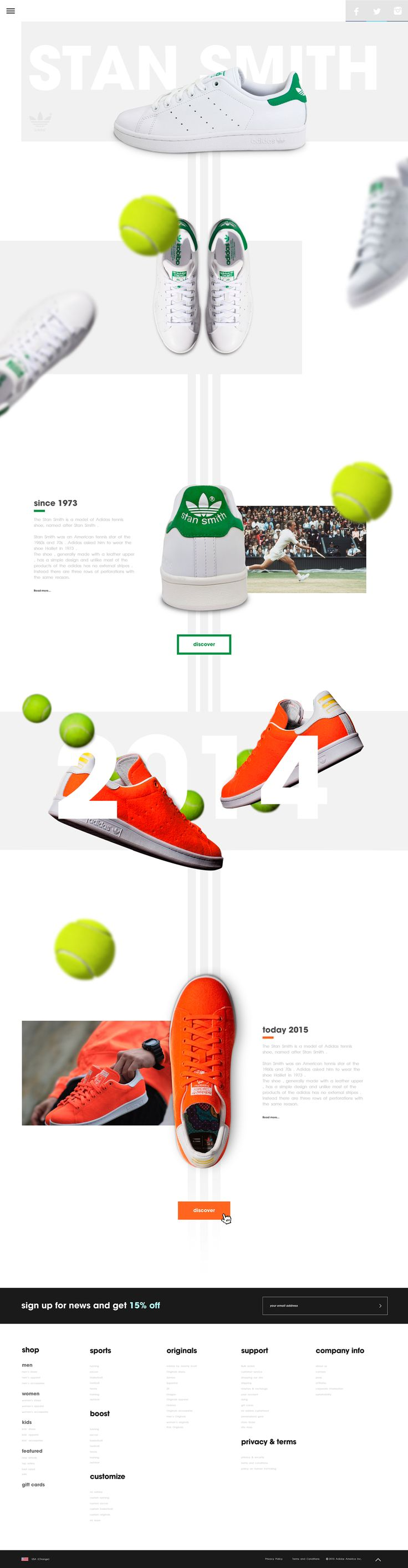 Clean, short but clear storytelling around the shoe and what it did to tennis.. Nice details with the 3-stripe in the background and tennis balls floating.
