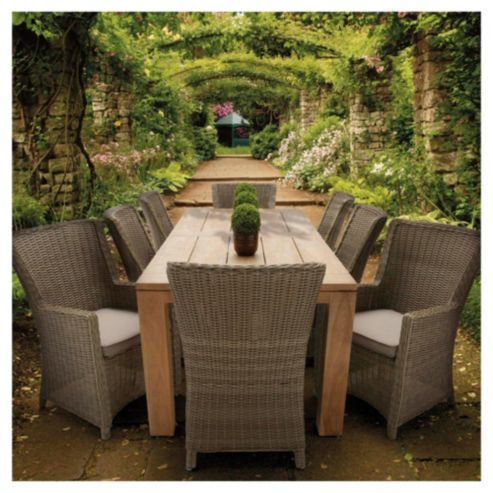 buy dobbies 8 seat mexico reclaimed teak set with 8 almaty dining chairs from our garden furniture sets range at tesco direct