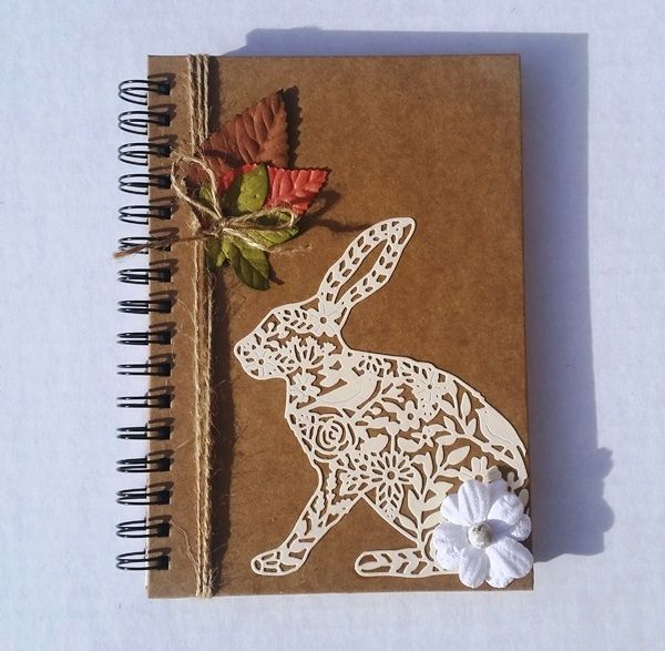 Rustic and vintage style, Wild Hare in the Autumn decorated notebook