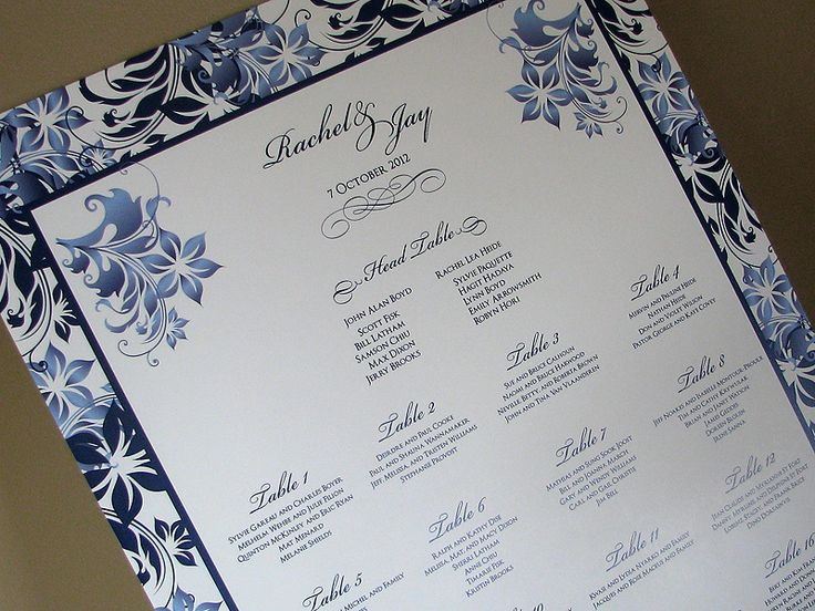 Our Burning Sapphire Seating Chart features a floral patterned border with touches of the floral elements on the chart.