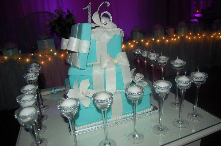 Tiffany Theme Sweet 16 - by PartyCakesByJoAnn @ CakesDecor.com - cake decorating website