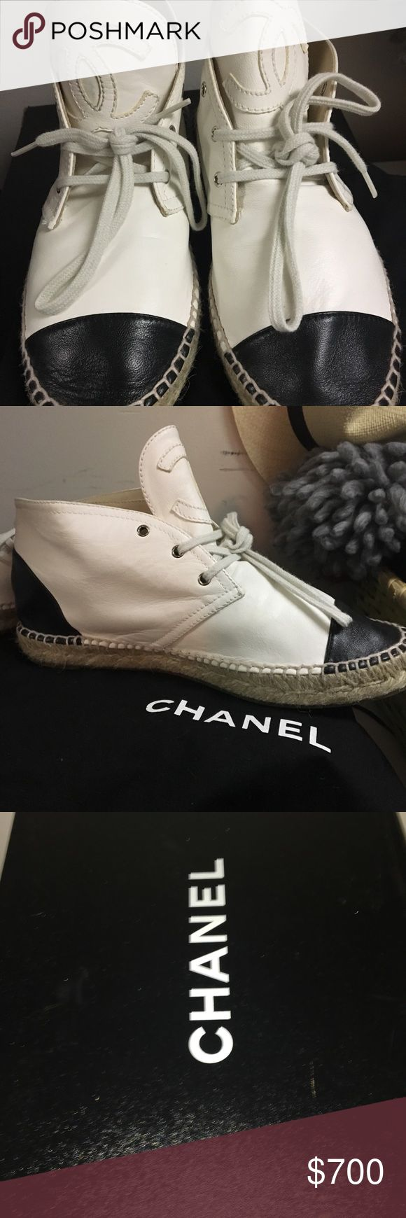 Chanel Lambskin High Top Espadrilles Authentic Chanel Black and White Espadrilles WITH original box and dust bag. Like new condition, only worn twice CHANEL Shoes Espadrilles