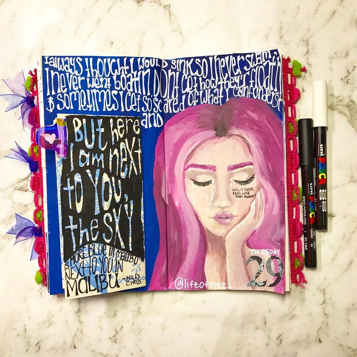 0 Likes, 1 Comments - Mez (@lifeofmezz) on Instagram: this journal page in my travelers notebook was made with acrylic paint and posca paint pens.  I have some hidden journaling under the flap and some song lyrics written around the girls face. check out my instagram or you tube page for more information