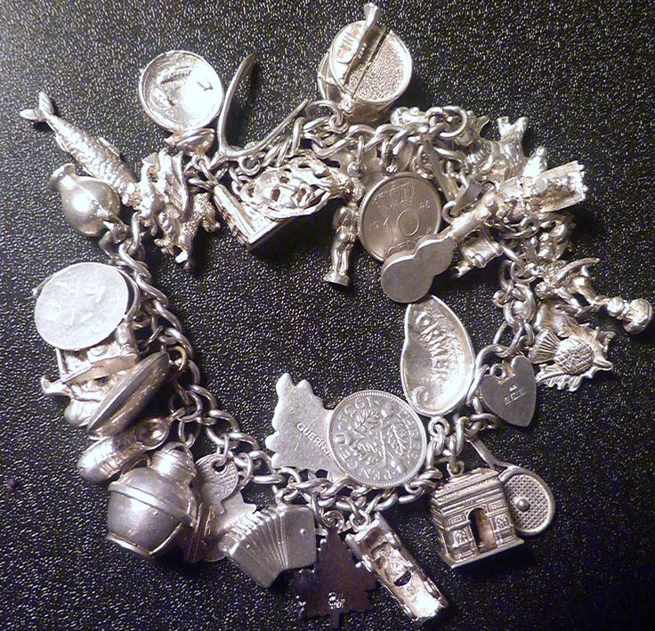 Vintage Sterling Silver Charm Bracelet 36 Charms,Rare Opening And Moving Charms Too
