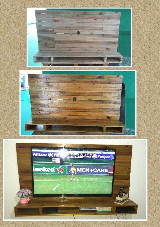 Painel de TV feito com pallets. Acabamento em verniz. #homedecor #pallets #reciclandopallets #façavocemesmo