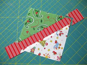How to get signature-style quilt blocks with charm squares.  Also, starch the squares before cutting and sewing on the bias!