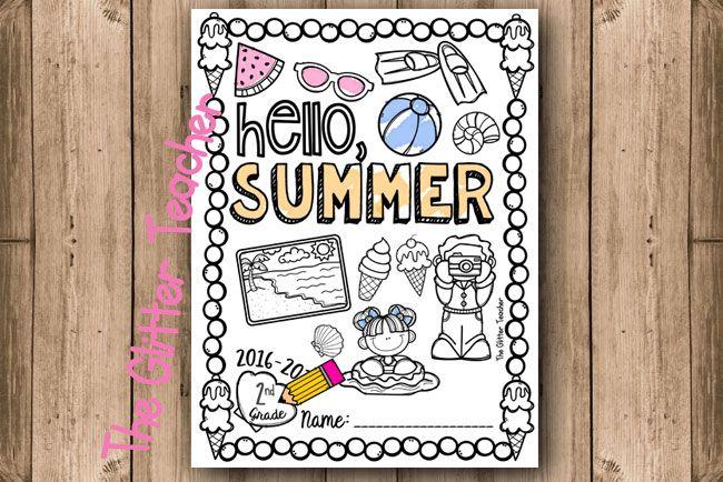 Esta página para colorear es perfecta como portada del verano, como portada para los trabajos de inglés en fin de curso, como dibujo de conmemoración o simplemente como fast-finisher.