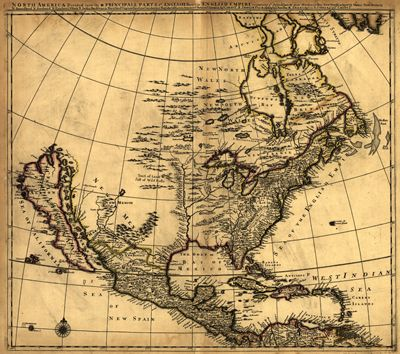 North America 1685, United States, Mexico, Cuba, New Spain, Mexico, Hudson Bay to South America, Caribbean Sea, Antique Historical Map. Created Philip Lea 1683-1700, North America divided into its III principal parts.