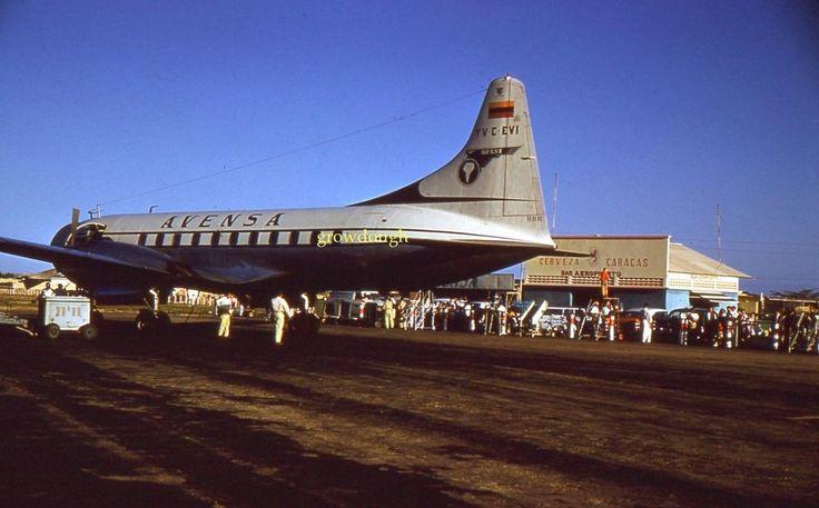 35mm Color Slide Avensa Airlines Plane YV C EVI Cerveza Caracas 1961
