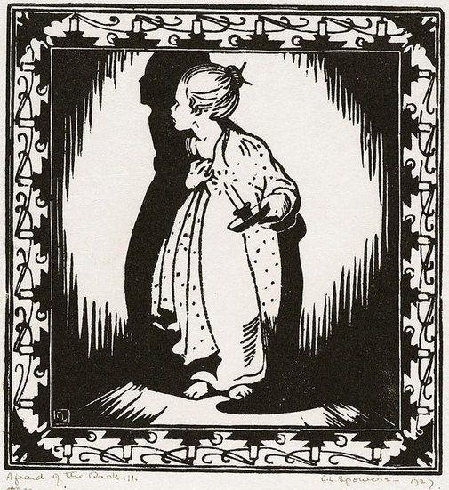 Ethel Spowers - Afraid of the dark (linocut)
