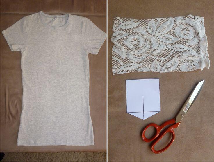 Comprei uma camiseta de cotton mescla banana (é esse amareladinho) e resolvi dar uma incrementada na peça. Separei um pedaço de renda que já tinha em casa e fiz o molde de um bolsinho com papel. Pr…