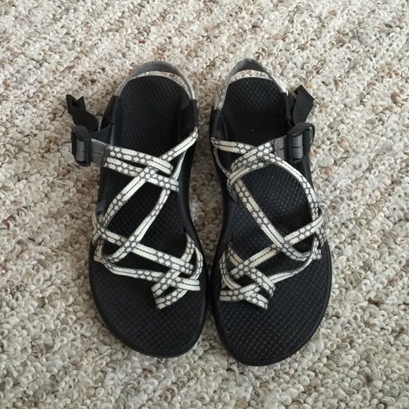 White + Grey Chacos Size 6.5 white and grey Chacos. Rarely worn, awesome condition. Super comfortable show, great for all sorts of activities. Chacos Shoes Sandals