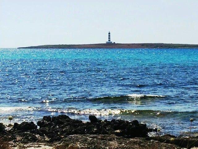 Faro de Isla del Aire desde Punta Prima. Menorca