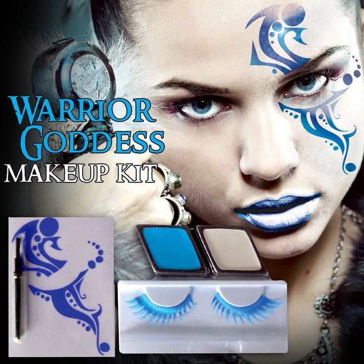 Create a fierce Warrior Goddess with this makeup kit. Kit includes, Temporary Face Tattoo, 2 well of rich and creamy makeup, Blue Eyelashes and Adhesive and Makeup Brush. Mix and match with our other