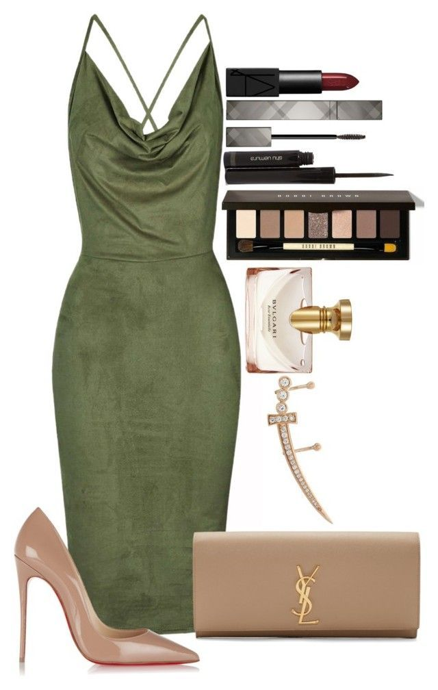 Untitled #1241 by fabianarveloc on Polyvore featuring polyvore fashion style Rare London Christian Louboutin Yves Saint Laurent Bee Goddess Burberry shu uemura NARS Cosmetics Bulgari Benefit clothing
