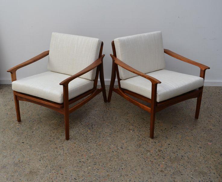 Pair of Australian Mid century modern armchiars, restored by tangerine & teal. www.tangerineandteal.com