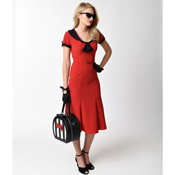 Stop Staring! Red & Black Dot Sleeved Railene Wiggle Dress ($170) ❤ liked on Polyvore featuring dresses, vintage style dresses, sleeved dresses, pencil dress, short sleeve dress and mesh dress