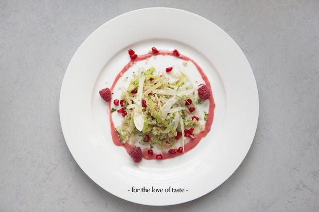 Quinoa fennel-raspberry salad with pommegranade