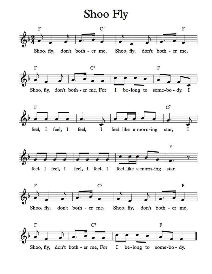 Free Sheet Music - Free Lead Sheet - Shoo Fly Don't Bother Me