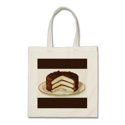 Vintage Chocolate Iced Layer Cake Custom Budget Tote Bag - #vintagewishes #windywinters #zazzle